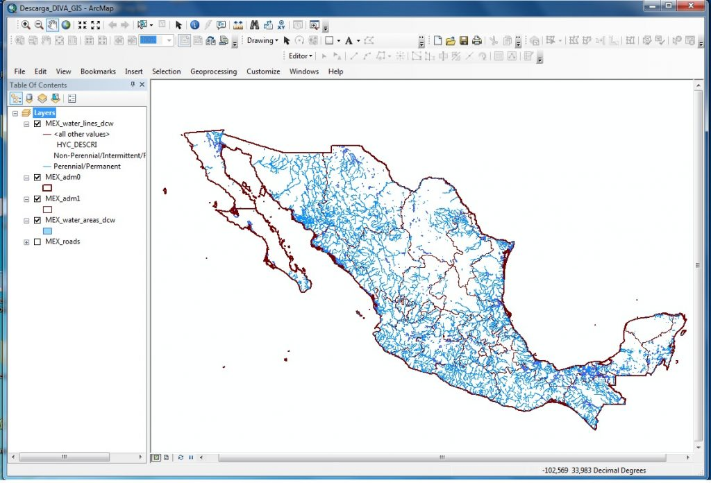Download free basic cartography from around the world_masas_agua_mexico