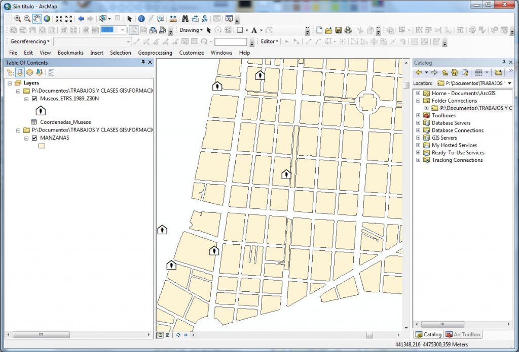 How to create a point layer from X, Y coordinates using ArcGIS_arcgis_Display_puntos_museos