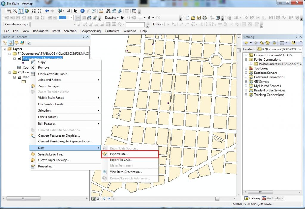 How to create a point layer from X, Y coordinates using ArcGIS_arcgis_export_data