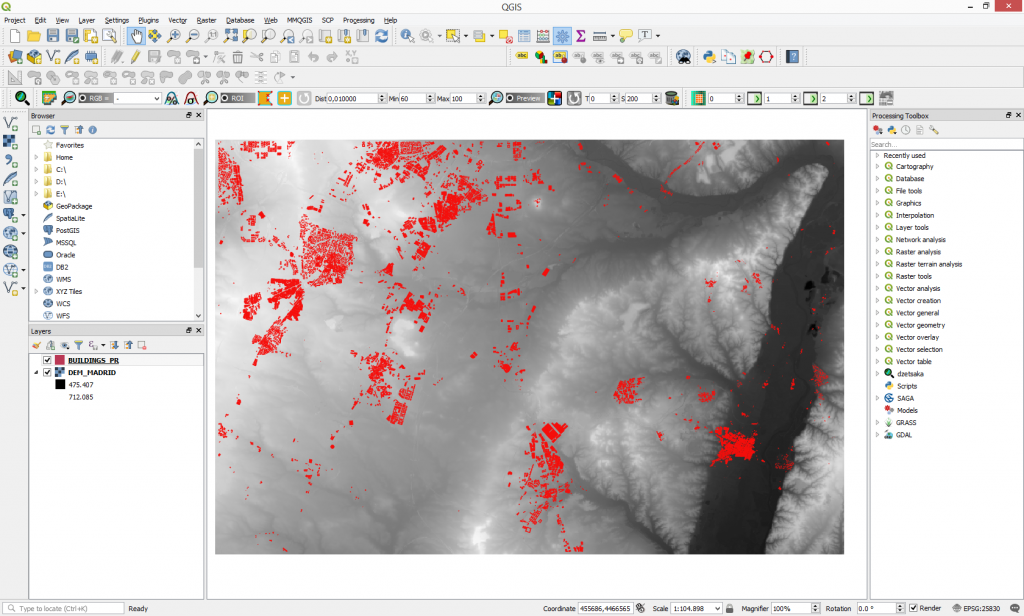 Incorporate vector data into a Digital Elevation Model using