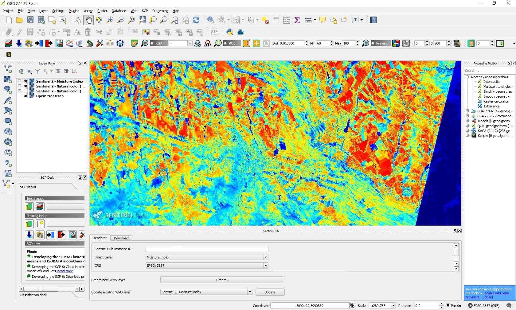 Easy way to download Sentinel-2 images using QGIS SentinelHub Plugin