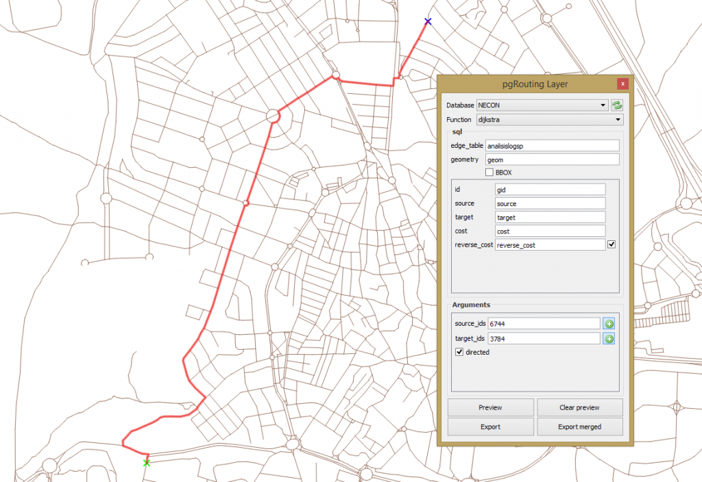 Simple route analysis with pgRouting and QGIS