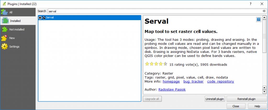 Editing DEM pixels values in QGIS using Serval Plugin